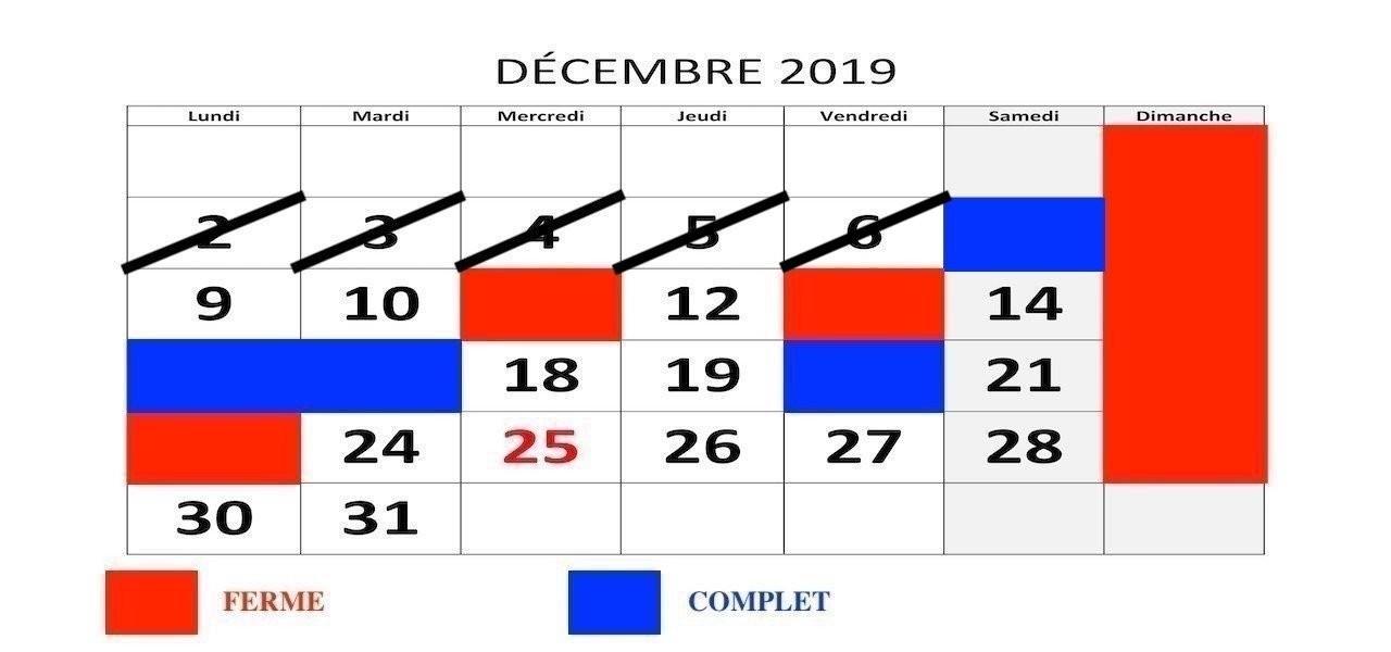 Horaire Décembre 2019